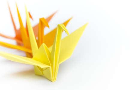 lining up: Three paper birds lining up on a white background, shallow depth of field