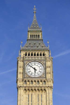 Photo of Big Ben against a blue sky
