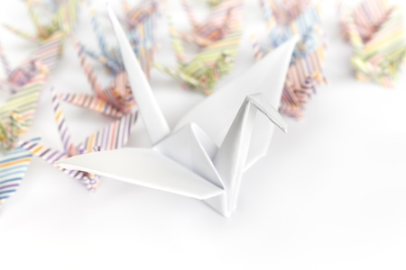 A big white paper bird and a group of small paper birds, shallow depth of field