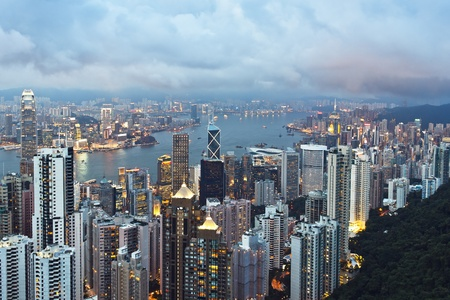 View of Hong Kong skyline and Victoria Harbour from Victoria Peak Stock Photo - 13530702