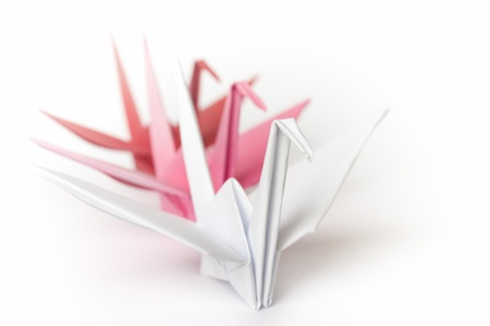 3 paper birds lining up on a white background. Shallow depth of field. Stock Photo
