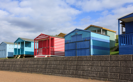 Colourful beach huts in Whitstable, Kent, UK