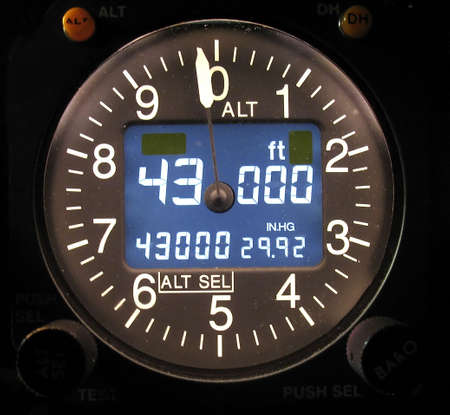 aeronautical: Electronic Aircraft altimeter showing a cruise altitude of 43000 feet.