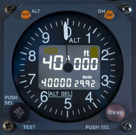 aeronautical: Close up of an electronic altimeter in the cockpit of a jet Stock Photo