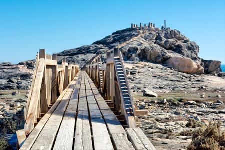 Wooden bridge to viewpoint. Shot in Luderitz, Diamond Coast, Namibia. photo