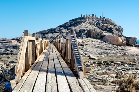luderitz: Wooden bridge to viewpoint. Shot in Luderitz, Diamond Coast, Namibia.
