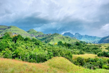 kwazulu natal: Mountains before thunderstorm. Shot in Monk