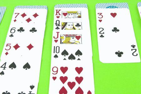 dealt: A dealt hand of solitaire for a single player.