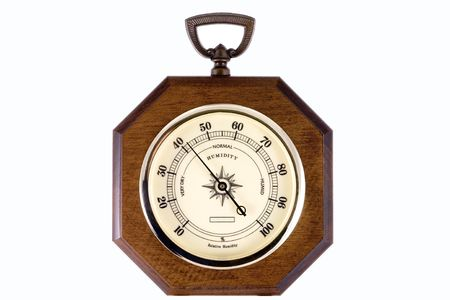 relative: A hygrometer instrument showing the relative humidity in percents.