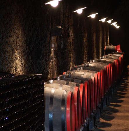 ferment: Barrels in a wine-cellar. Hungary, Tokaj.