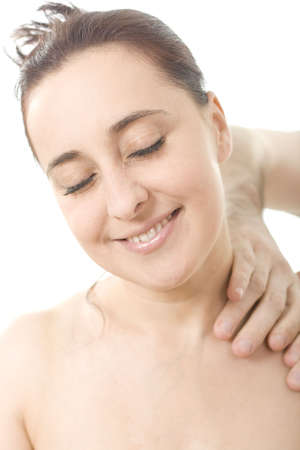 Relaxing nice lady having a massage and osteopathy treatement