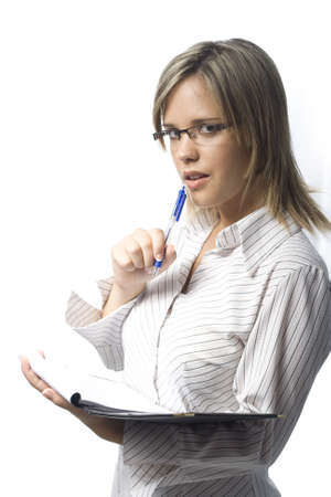 Beautiful young secretary taking notes on white backgorund Stock Photo
