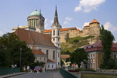Castle and Basilica in Esztergom from Hungary with blue sky and white clouds