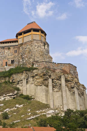 Castle in Esztergom from Hungary with blue sky and white clouds