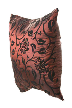 Wine-red silk pillow with black ornaments on white background for designers