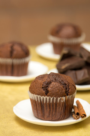 Rustic chocolate muffin with cinnamon on little white plate Stock Photo