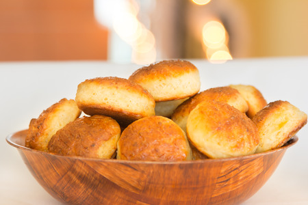 Scones made of cottage cheese in bamboo plate