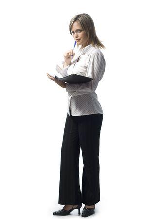 Beautiful young secretary taking notes on white background Stock Photo