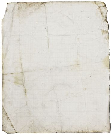 Fine textured dirty old school paper page from coppy-book with folds & stains. Isolated on white Stock Photo