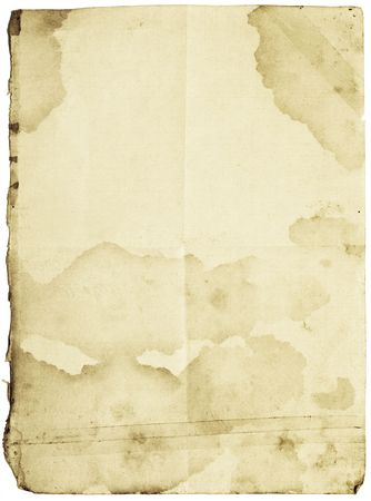 Old-fashioned stained paper with folds and patched with sticky tape. Isolated with clipping paths Stock Photo - 2601493