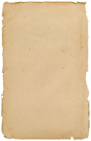 Torned stained old paper on white background Stock Photo