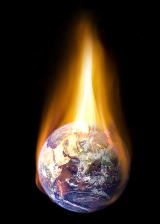 Planet Earth burning in fire Stock Photo