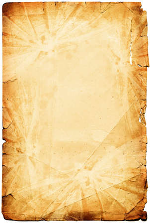 Vintage torn paper page framed by Insect frame. Image on white