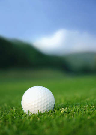 cut grass: Golf ball in the middle of the fairway