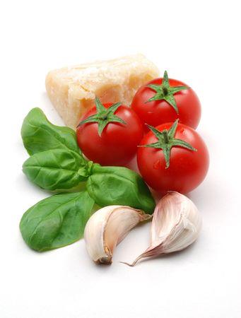 Tomatoes, basil and parmesan cheese