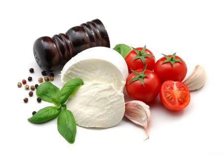 Mozzarella and tomatoes Stock Photo