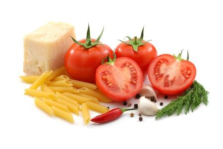 Italian food over white photo