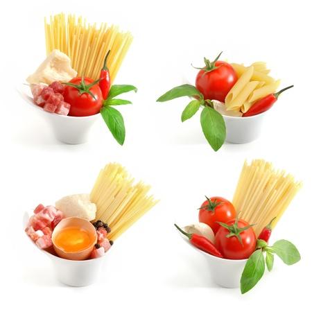 carbonara: Italian pasta collection Stock Photo
