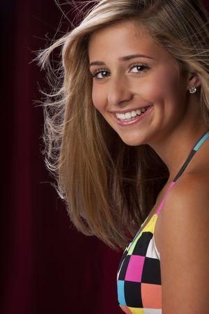 bikini slender: a young pretty teenage girl in a bikini.