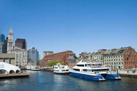 Cruise ships in harbor of St-Charles river, Boston, Mass with people aboard