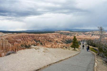 john wayne: people  at view point of  Bryce Canyon hoodoos, National Park, Utah, USA