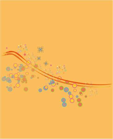 ligne: abstract birds on an orange background, design element