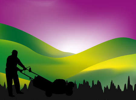 grass blades: man mowing his lawn at sunset - silhouette and mesh work