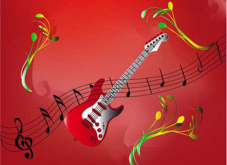 mesh: music notes and instrumental background - design element Illustration