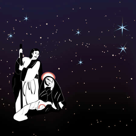 Christmas nativity scene under starry night sky  vector eps file included Stock Vector - 5993964