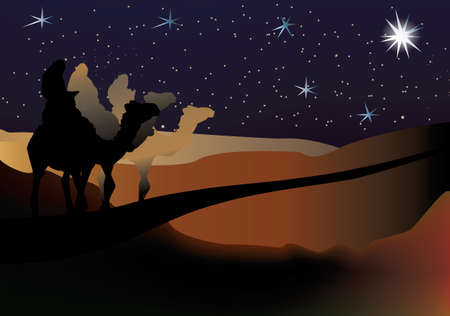 three Wise men nativity scene on a starry background Stock Vector - 6006691