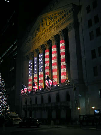 New York - December 24, 2004 -  American flag illuminations on Christmas Eve on  Stock Exchange building
