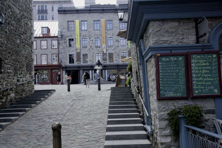 royale: QUEBEC, CANADA - AUGUST 21: street scene  in the picturesque old city of Quebec with people in motion in background Quebec, Canada. 21 August 2009
