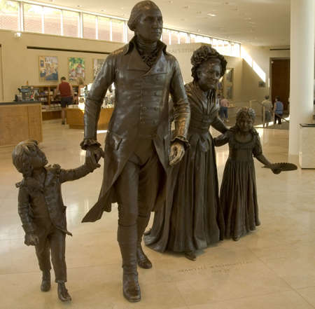 martha: MOUNT VERNON, VIRGINIA -  JUNE 23rd : Life sized bronze sculptures of George and Martha Washington and  two grandchildren Nelly and Washy at the Ford Orientation Center at Mount Vernon, Washington, DC, June 23rd 2007