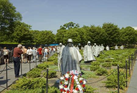 ARLINGTON, VIRGINIA - JUNE 24th :Tourists visiting the Memorial sculptures of Korean War in Arlington National cemetery Virginia USA, 24th June 2007 Stock Photo - 6890338