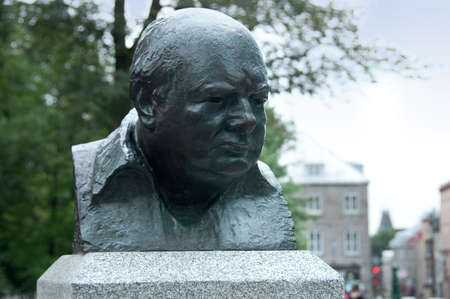 gritty: Statue of Churchill in Quebec city, Canada,21st August 2009