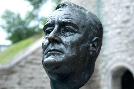 statesman: memorial bronze statue of Franklin Delano Roosevelt in Quebec city, Canada,21st August 2009
