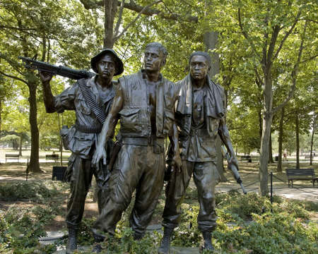 dedicated: ARLINGTON,  VA - JUNE 24 ;  Memorial great sculptures dedicated to  Vietnam veterans soldiers, Arlington cemetery, Virginia, USA, 24th June 2007