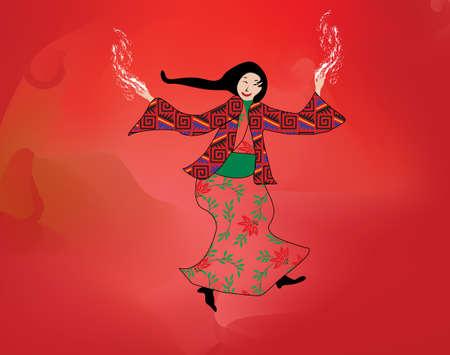 mesh: Asian girl dancing, graphic design, mesh background