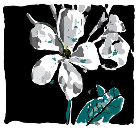 Jasmin flower watercolor, vector made only with brushes, Vector
