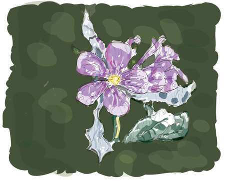 purple Jasmin flower in watercolor,in green background vector made only with brushes, EPS 10